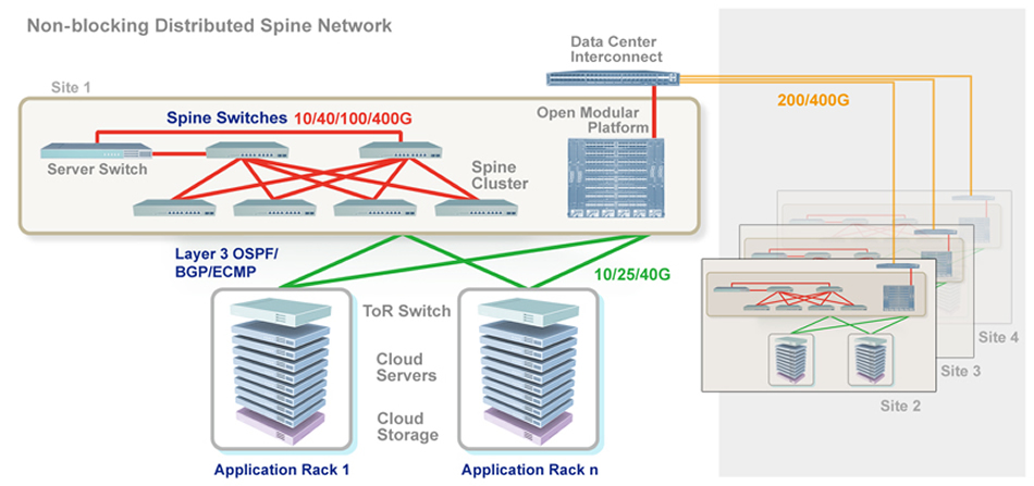 non-blocking distributed spine network