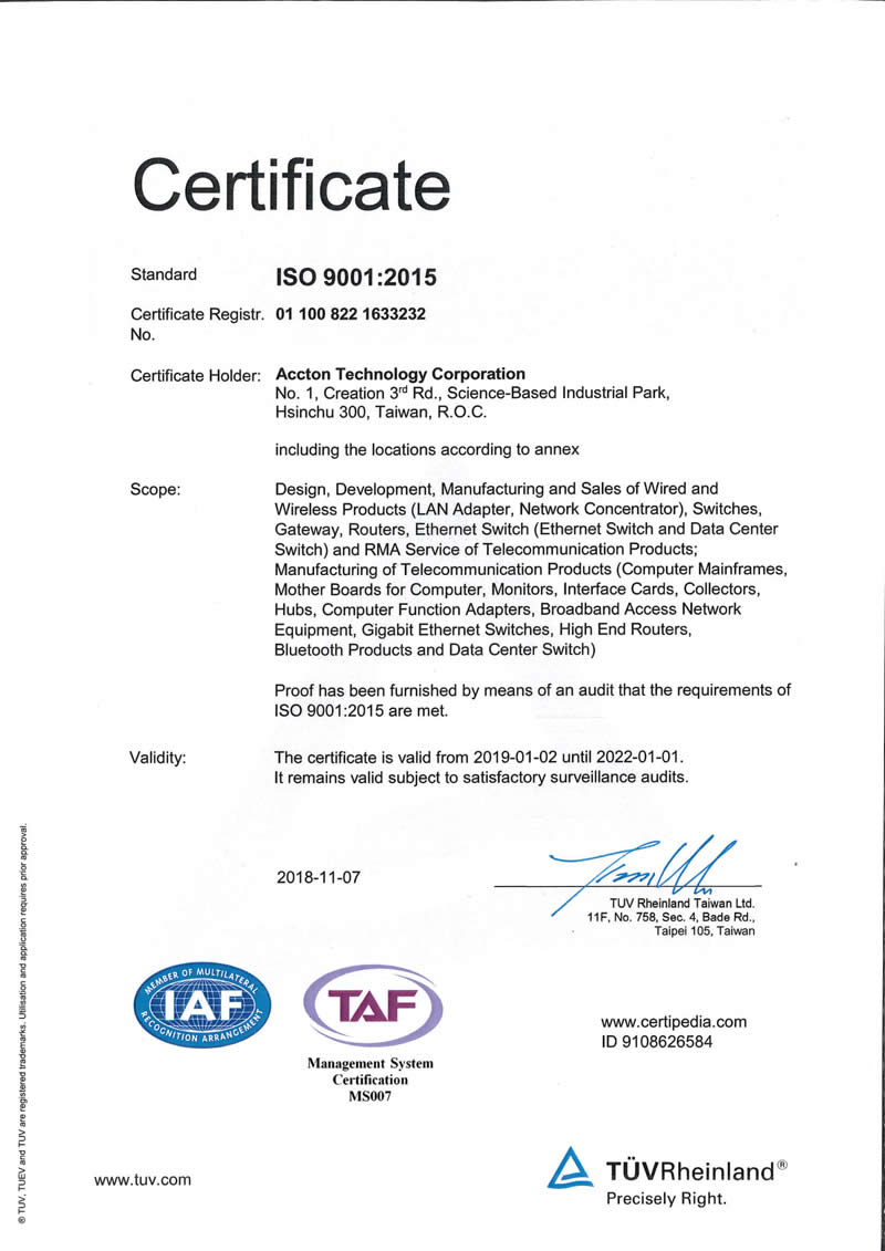 accton iso 9001 certificate