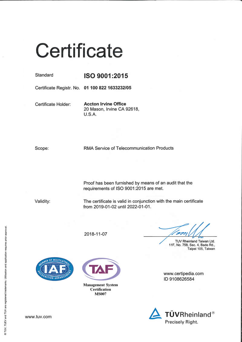 accton irvine iso90001 certificate