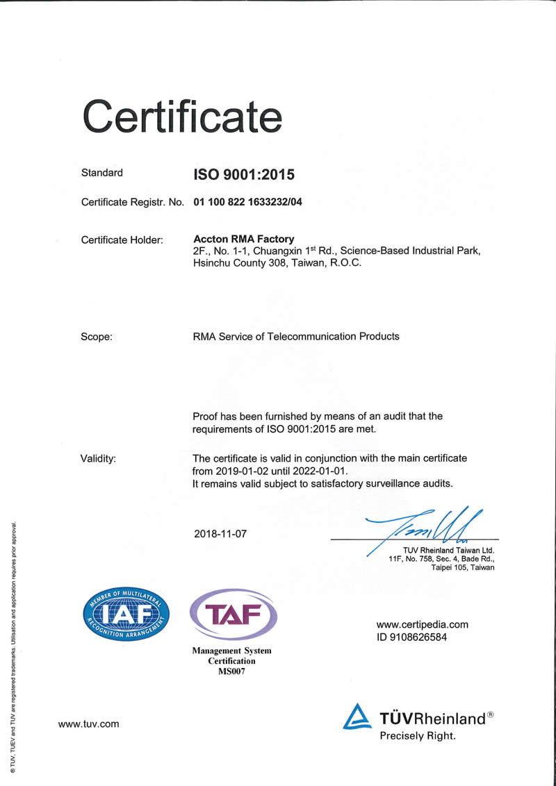 accton rma iso 9001 certificate
